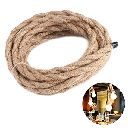 Cable de cuerda vintage de 5 m para hacer lámparas de techo; cuerda trenzada retro