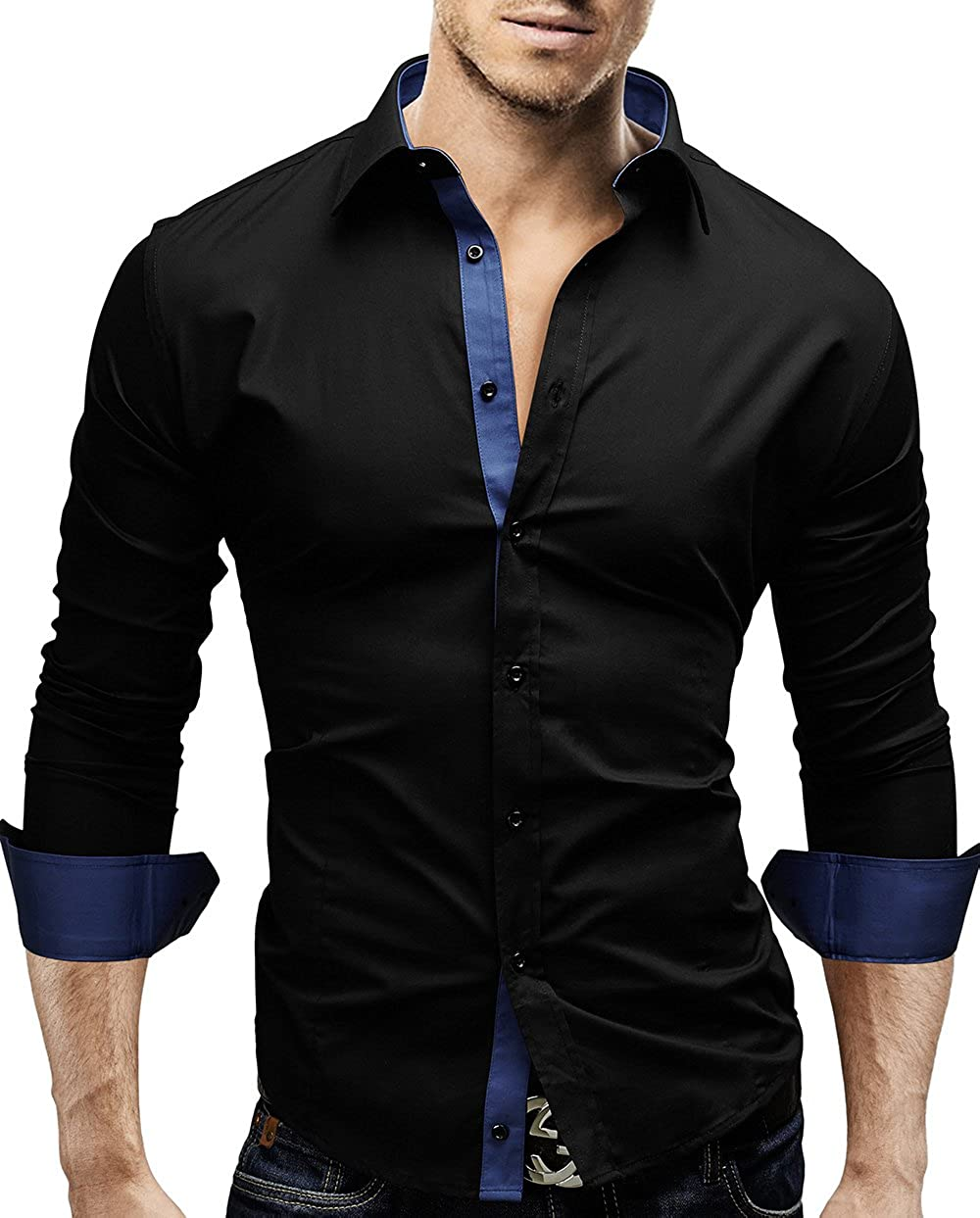 Lyon Becker Mens Shirts Long Sleeve Slim Fit Casual Formal Shirt Basic Plain Dress Office PS01