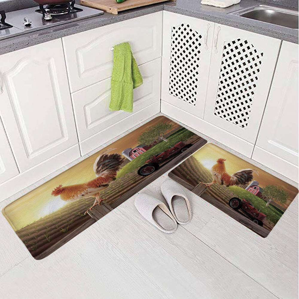 2 Piece Non-Slip Kitchen Mat Rug Set Doormat 3D Print,Kitchenware and Home Decor Rooster Early Bird,Bedroom Living Room Coffee Table Household Skin Care Carpet Window Mat,