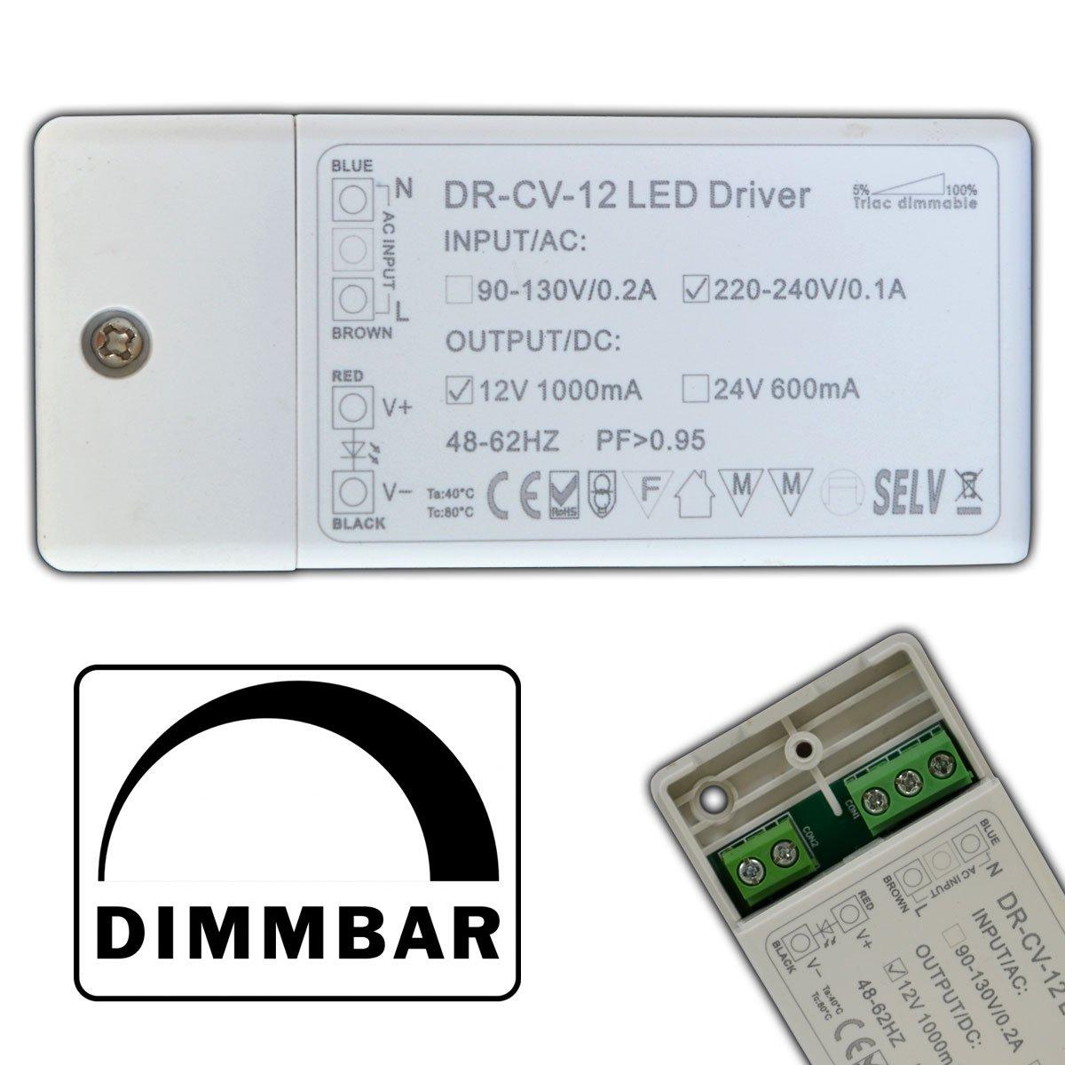 Dimmbarer LED Trafo 12V DC 1-12 Watt Netzteil dimmbar Treiber ...