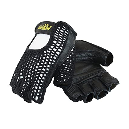 cdfa0656c7 Maximum Safety 122-AV14/L Lifting Half Finger Gloves with Reinforced Padded  Leather Palm, Black, Large