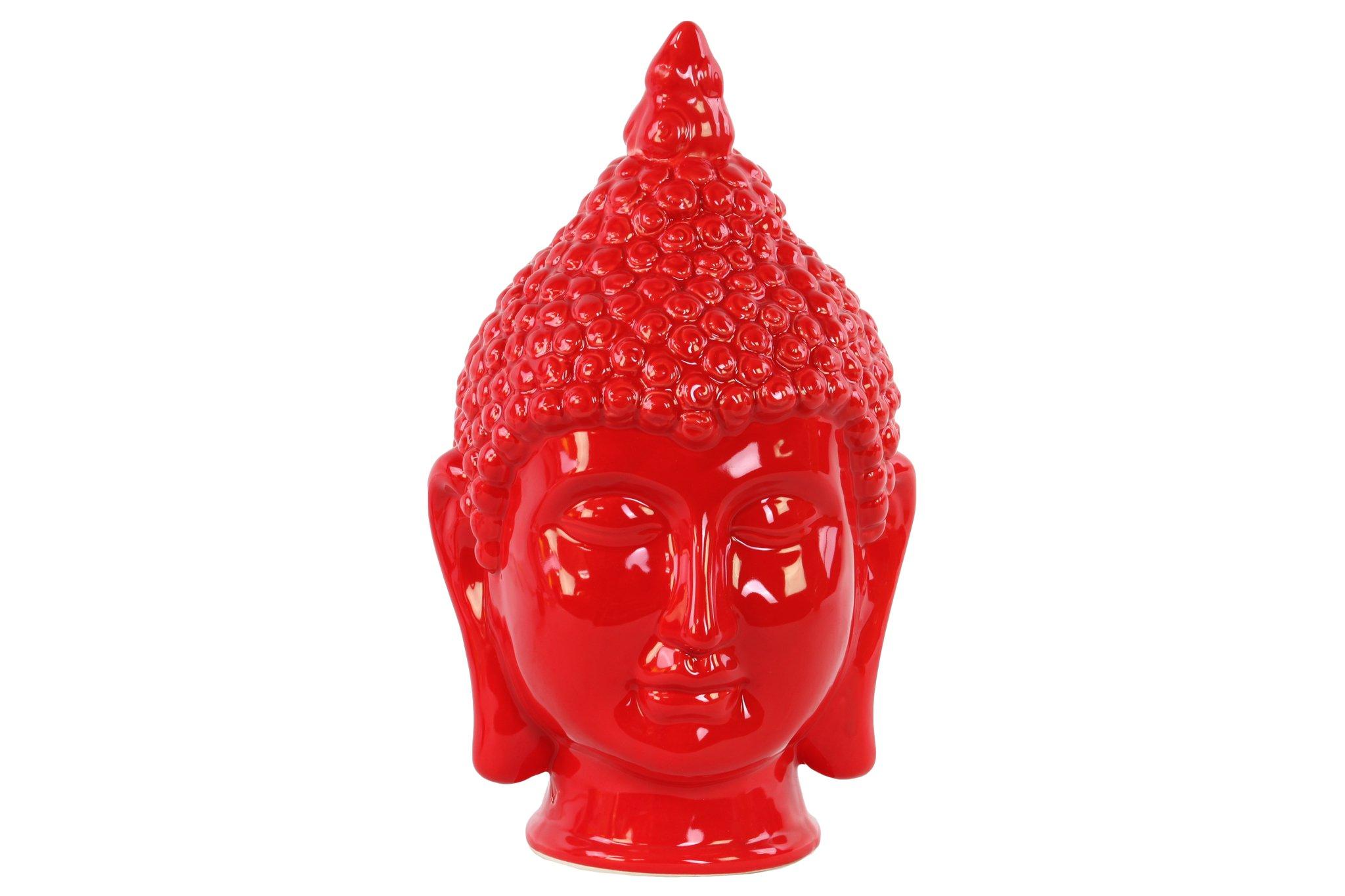 Urban Trends Ceramic Buddha Head with Pointed Ushnisha, Gloss Red by Urban Trends