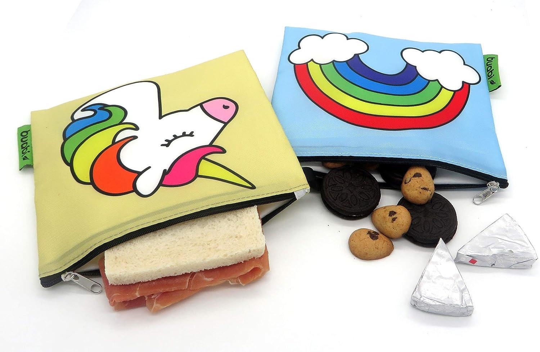 Envoltorio T/érmico de Tela Reutilizable Porta Bocadillos y Sandwich ecol/ógico Bolsa merienda Infantil sin BPA Dinosaurio y Robot