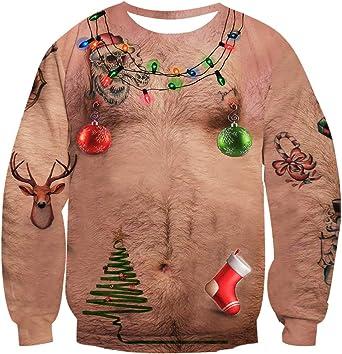 DUHUD 3D Print Mens and Womens Christmas Xmas Hoodie Unisex Pullover Sweatshirts Christmas Ugly Funny lumaoA 3XL