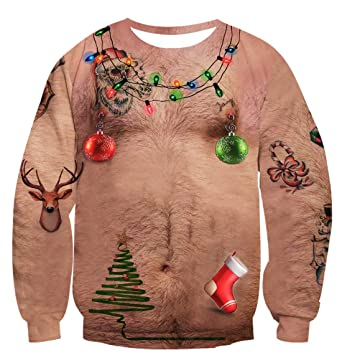 2c426eb0a8fab Uideazone Men Women Ugly Christmas Chest Hair Tee Shirt Funny X-mas Gift  Clothes Top