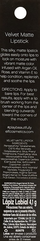 e.l.f. Velvet Matte Lipstick - Ruby Red: Amazon.es: Belleza