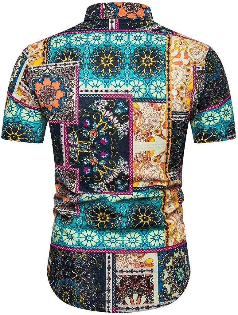 Moxiu Mens T shirt Mens Ethnic Printing Shirts Casual Button Short Sleeve Cotton Linen Hawaiian Tops Blouse