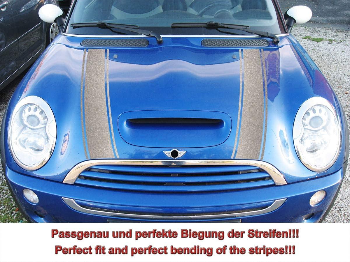Streifen Stripes Aufkleber Motorhaube Für R52 R53 S Modell Mini Cooper Silber Metallic Design 2 Auto