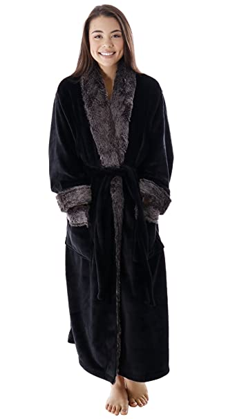 BURKLETT Kimono Robe Faux Fur Trim Velvet Fleece Pocketed Bathrobe  Sleepwear 8936a0d8c