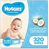 Huggies Coconut Baby Wipes (Pack of 320), 320 Wipes (4 x 80 Pack)
