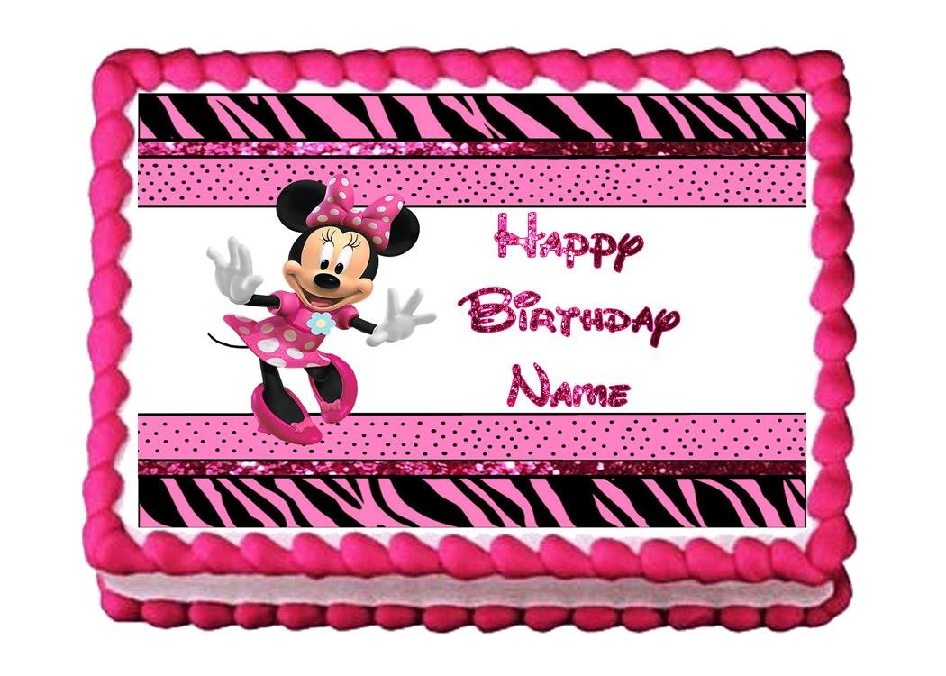 Amazoncom Edible Cake Topper Minnie Mouse Pink Zebra Kitchen Dining