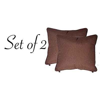 "Comfort Classics Inc. Set of 2 Indoor/Outdoor Pillow with welt 21"" x 21"" x 8"" in Polyester Brown : Garden & Outdoor"