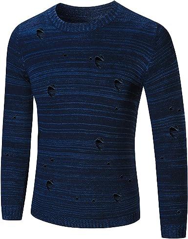 Suéter Rasgado Original para Hombre Color sólido Ajuste ...