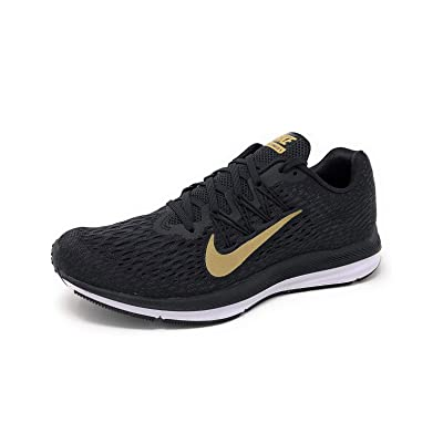 Nike Womens Air Zoom Winflo 5 Running Shoe, Black/Metallic Gold-Anthracite, 11 | Road Running
