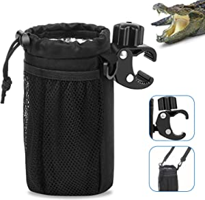 Peztio Bar Cup Holder with Alligator Clip, Universal Bike Cup Holder for Motorcycle, Boat, Scooter, Automotive, ATV/UTV, Wheelchair, Walker and Golf Cart, Bike Water Bottle Holder Accessories