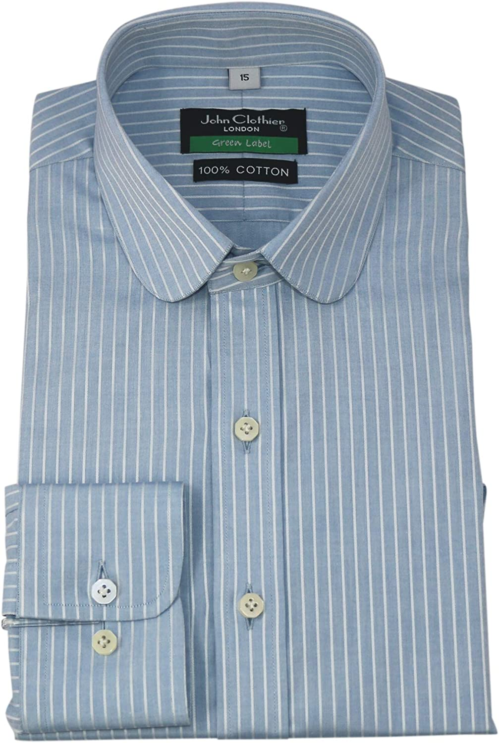 Mens Vintage Shirts – Casual, Dress, T-shirts, Polos Penny Collar Mens Shirt Blue White Stripes Peaky Blinders Round Club 100% Cotton 200-06 $89.99 AT vintagedancer.com