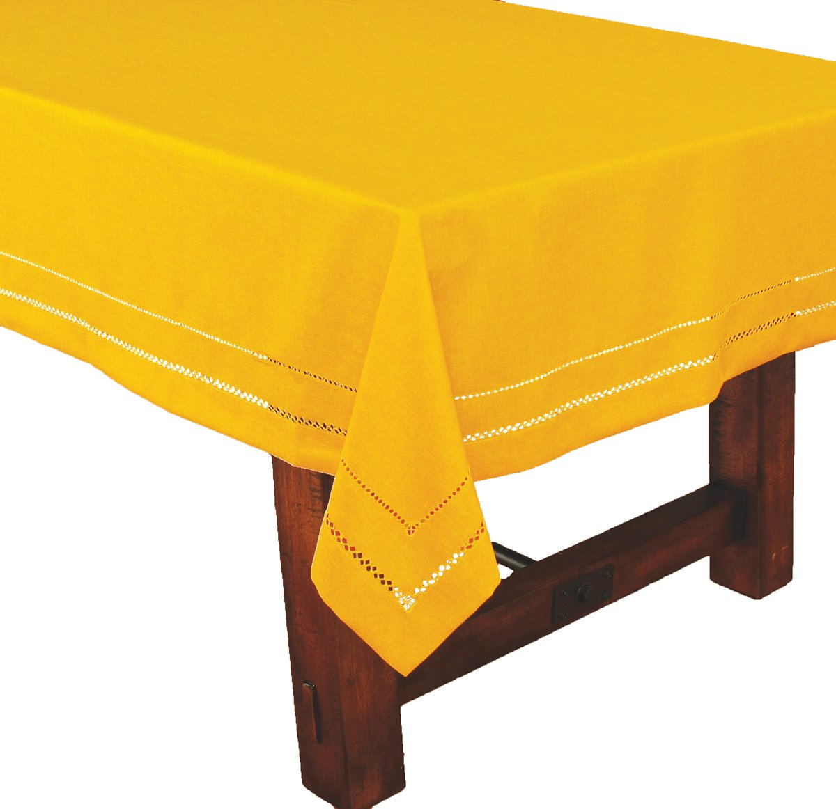 Xia Home Fashions Double Hemstitch Easy Care Tablecloth, 65 by 140-Inch, Gold by Xia Home Fashions