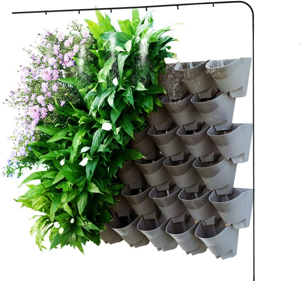 Homes Garden Self Watering Vertical Garden Planter Indoor Outdoor Living Wall With Drip Irrigation Kit Gray 12 Pack 36 Pockets G G707a06 Us Amazon Co Uk Garden Outdoors