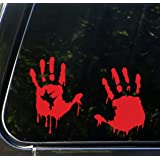 """RED - Bloody Zombie Hands (PAIR - LEFT and RIGHT Hands) - Car Vinyl Decal Sticker - (12.5""""w x 8.5""""h)"""