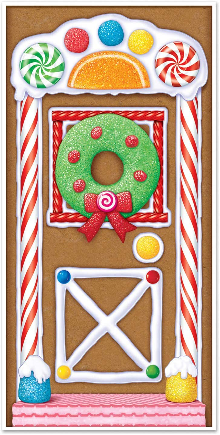 Beistle Printed Plastic Gingerbread House Door Cover Indoor/Outdoor Christmas Party Decorations, 30 by 5-Inch, Multicolored