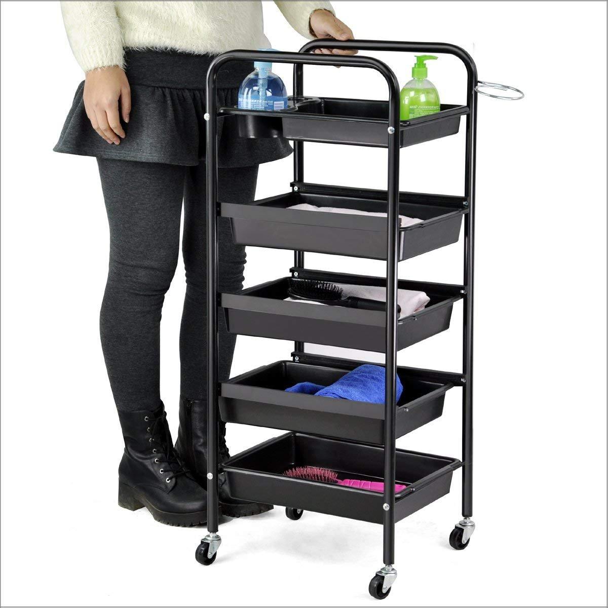 Popamazing Salon 5 Drawer Storage Trolley with Chrome Frame - 36.5cm x 31.5cm x 90cm (L*W*H)