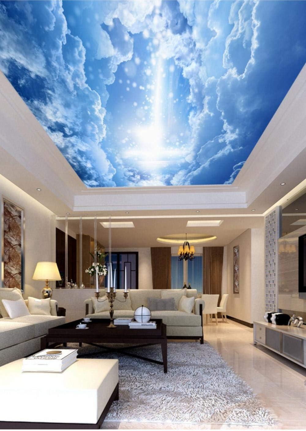 Techo personalizable pintura techo mural sala de estar dormitorio techo mural decoración tela no tejida-cielo azul con nubes blancas y rayo de luz extraño