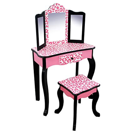Teamson Kids - Fashion Prints Girls Vanity Table and Stool Set with Mirror - Leopard (  sc 1 st  Amazon.com & Amazon.com: Teamson Kids - Fashion Prints Girls Vanity Table and ...
