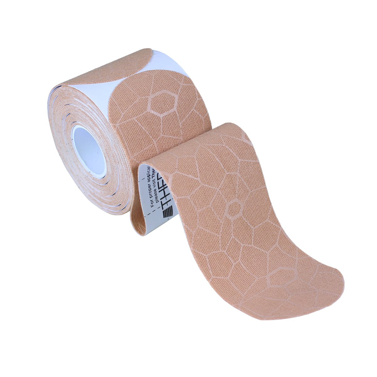 TheraBand Kinesiology Tape, Waterproof Physio Tape for Pain Relief, Muscle & Joint Support, Standard Roll with XactStretch Application Indicators, 2'' X 10'' Strips, 20 Precut Strips, Beige/Beige