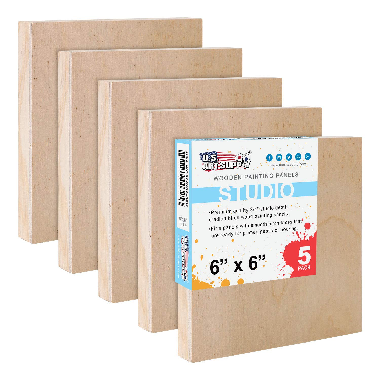 U.S. Art Supply 6'' x 6'' Birch Wood Paint Pouring Panel Boards, Studio 3/4'' Deep Cradle (Pack of 5) - Artist Wooden Wall Canvases - Painting Mixed-Media Craft, Acrylic, Oil, Watercolor, Encaustic by US Art Supply