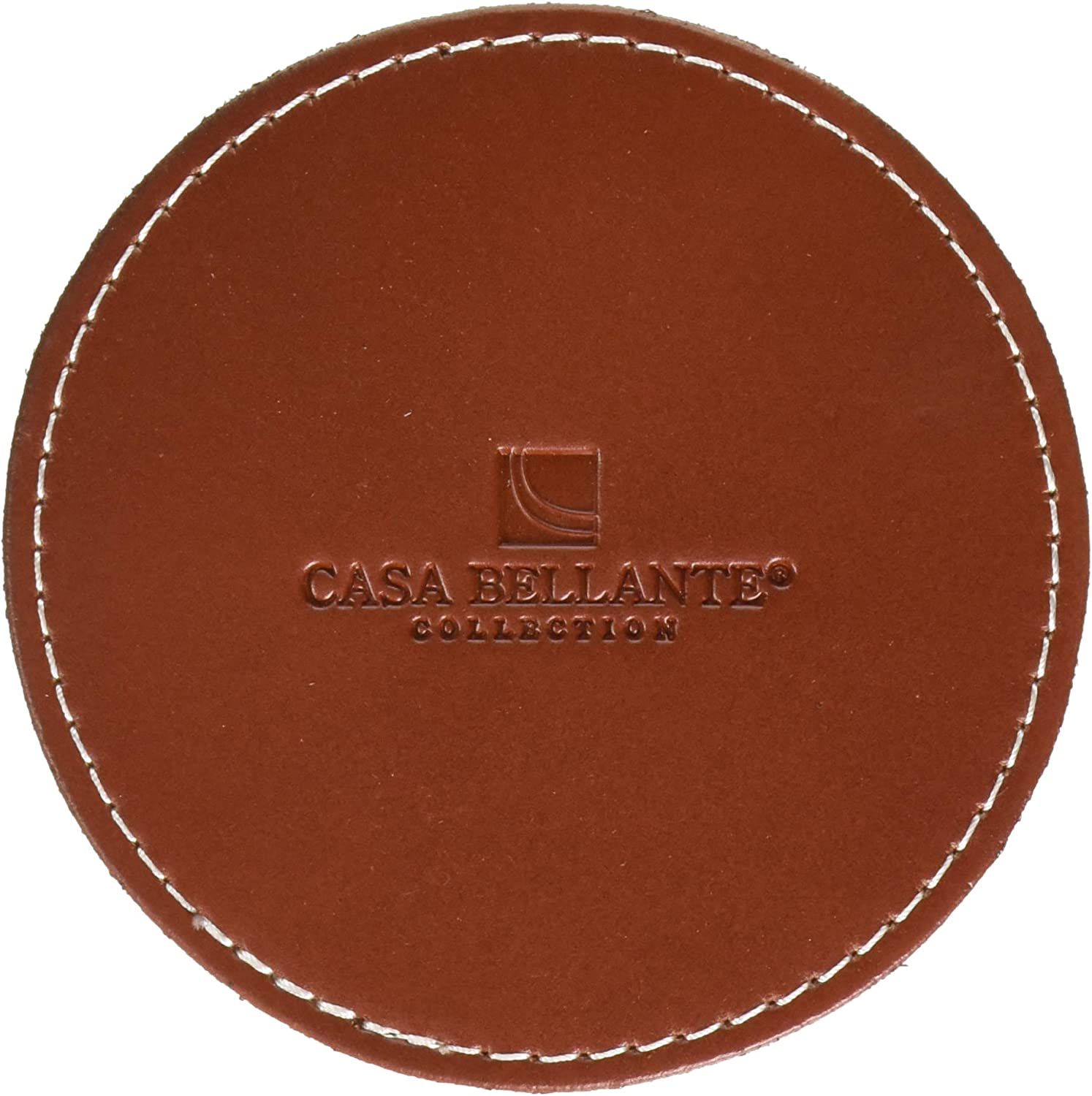 Casa Bellante J8-QZUE-65I0 Leather Coaster. Compatible for Apple HomePod, Amazon Echo,Google Home. Set of 2. (4 x 4 in.), Small, Brown