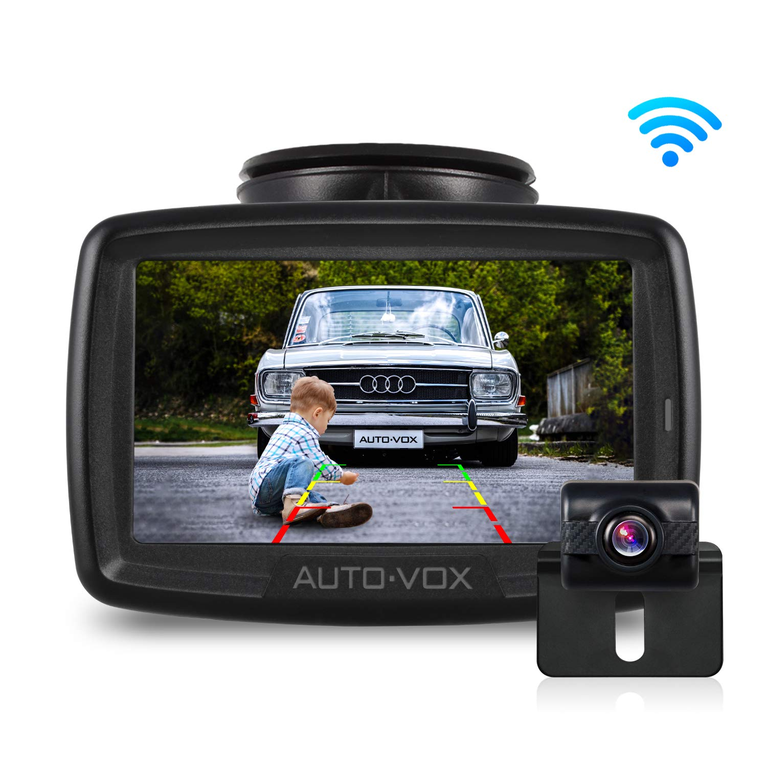 W2 NO Interference Digital Wireless Backup Camera System Kit with Built-in Transmitter, IP68 Waterproof Wireless Rear View Camera and 4.3'LCD Wireless Reversing Monitor for Trailer,Minibus, Trucks by AUTO-VOX