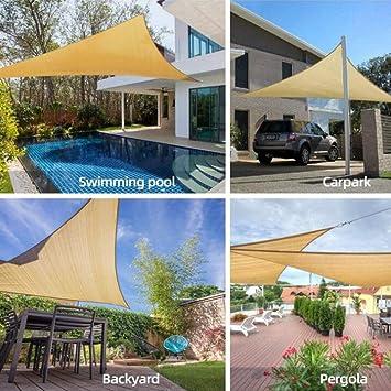 Toldos CJC Jardín Parasol Vela, Triángulo Jardín Patio Al Aire Libre del Partido De Protección Solar (Color : Sand, Size : 5x5x7m): Amazon.es: Hogar