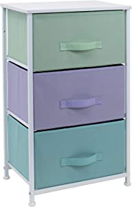 Sorbus Nightstand with 3 Drawers - Bedside Furniture & Accent End Table Storage Tower for Home, Bedroom Accessories, Office, College Dorm, Steel Frame, Wood Top, Easy Pull Fabric Bins (Pastel/White)