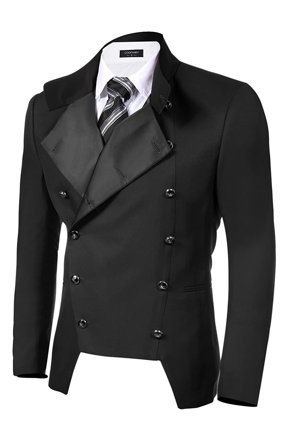 Men's Vintage Style Suits, Classic Suits Double-breasted Jacket Slim Fit Blazer $47.99 AT vintagedancer.com