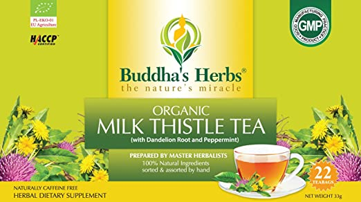 Buddha's Herbs Premium Organic Milk Thistle Tea with Dandelion Root (Pack of 2)(44 Teabags)