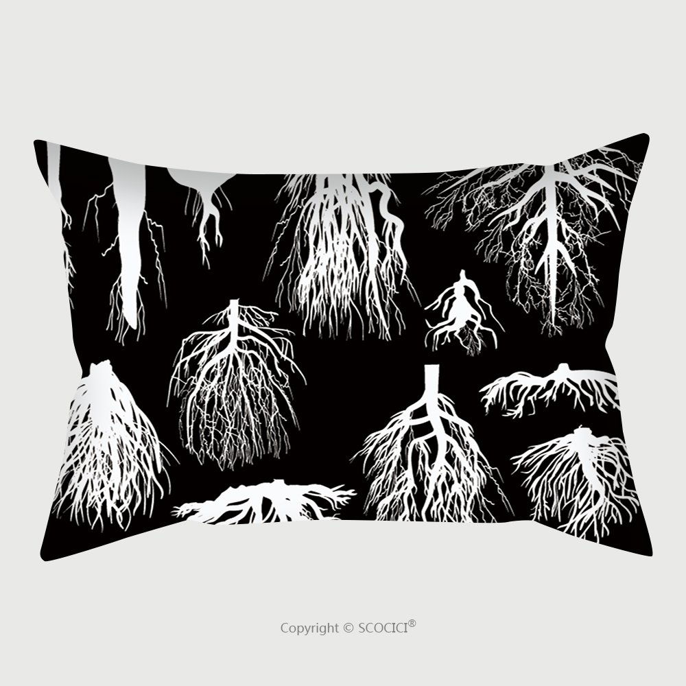 Custom Satin Pillowcase Protector Illustration With Set Of White Roots Isolated On Black Background 149225462 Pillow Case Covers Decorative by chaoran
