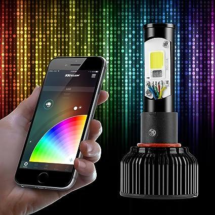2 in 1 LED Headlight Bulb Kit XKchrome Smartphone App Bluetooth RGB XKGLOW phone