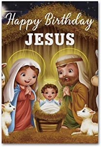 "Meltelof Happy Birthday Jesus Garden Flag, Jesus in The Manger Garden Flag, Christmas Holidays Porch Décor, Yard Flag 12""x18"" Double Sided"