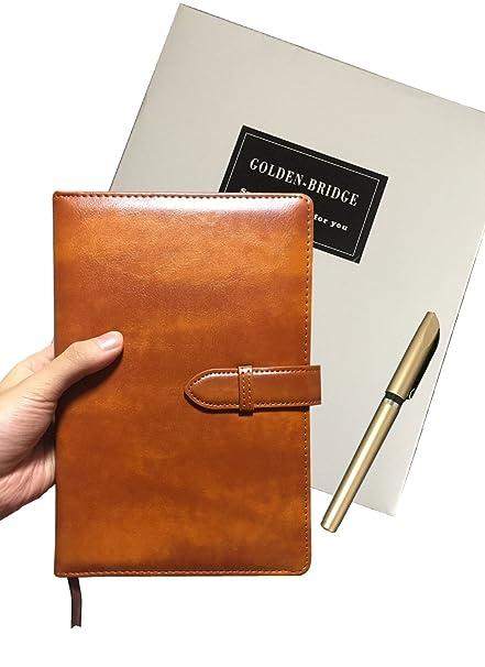 Golden puente piel sintética Business Notebook A5 tamaño ...
