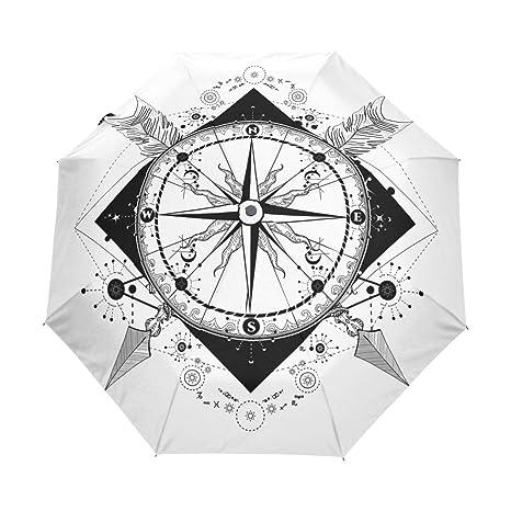 Amazon.com: Paraguas de Viaje Blanco y Negro Brújula y ...