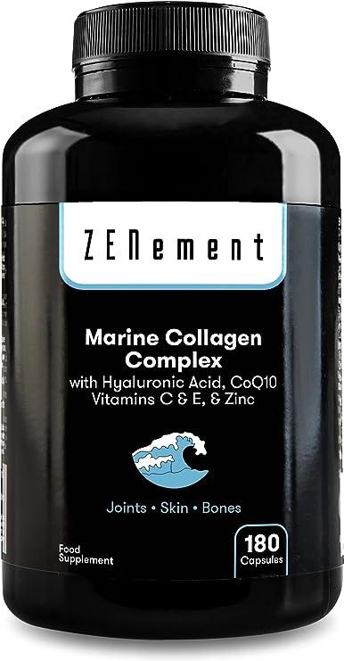 Complejo de Colágeno Marino, con Ácido Hialurónico, CoQ10, Vitaminas C & E y Zinc, 180 Cápsulas   Péptidos para Articulaciones, Piel y Huesos   de ...