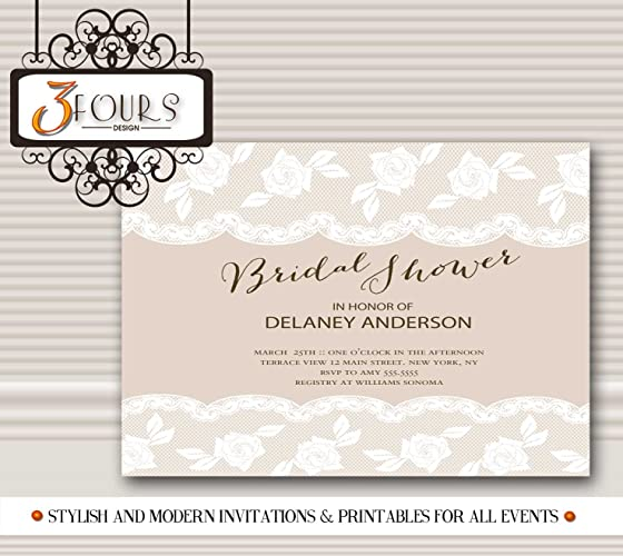 vintage lace bridal shower invitations alisa