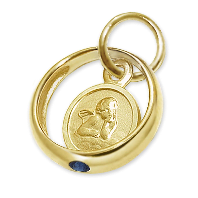 CLEVER SCHMUCK Goldener kleiner Taufring Engel rund mit Stein safirblau 333 GOLD 8 KARAT ahg102(d)