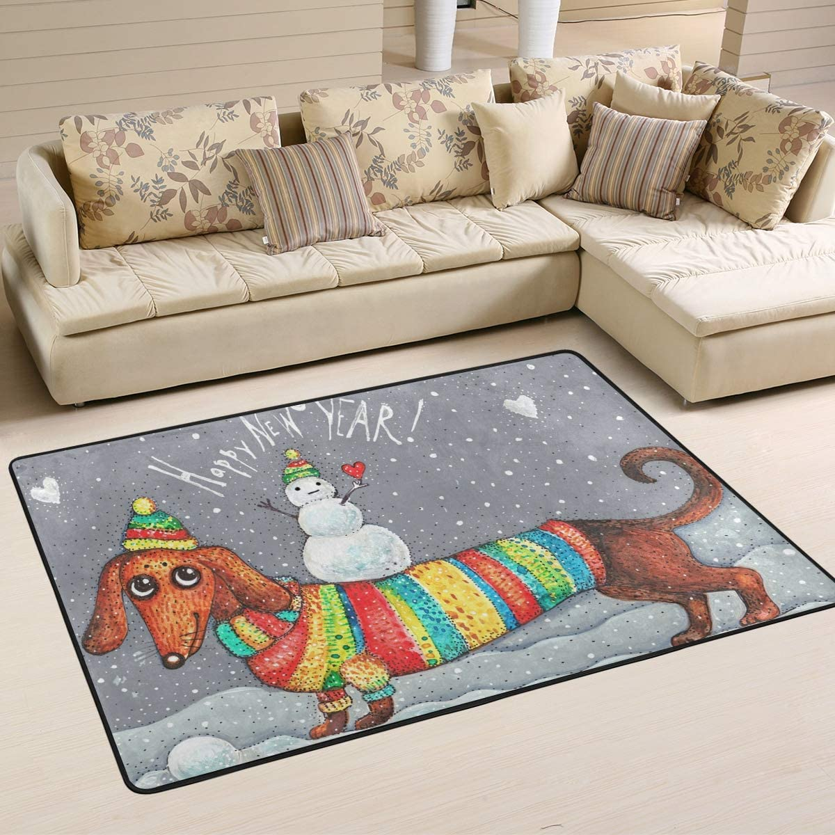 Wamika Dachshund Snowman Doormat Christmas Year Snow Indoor Outdoor Rug for Kitchen Living Room Bedroom Outside Patio Inside Entry Way, 6 x 4