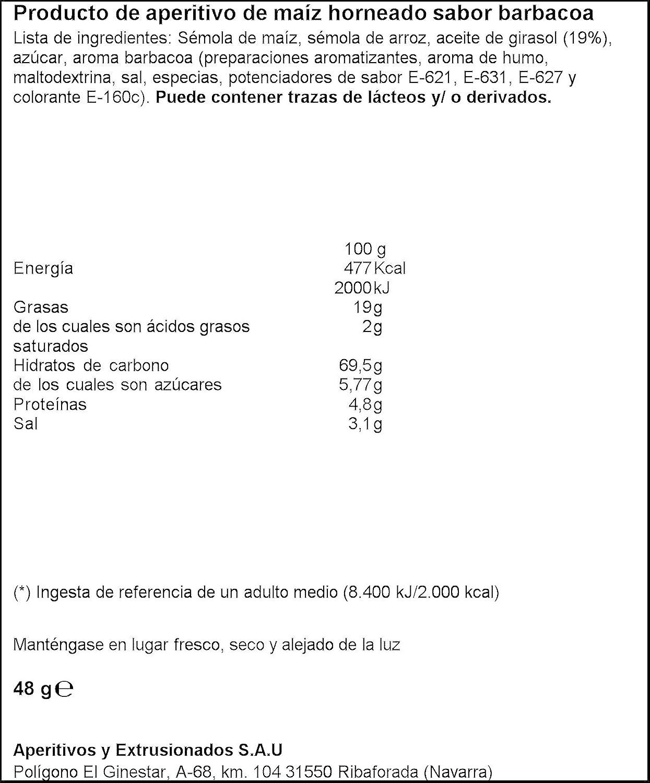 Producto de aperitivo de maíz horneado sabor barbacoa aspil puntazos sabor explosivo bolsita 48g: Amazon.es: Alimentación y bebidas