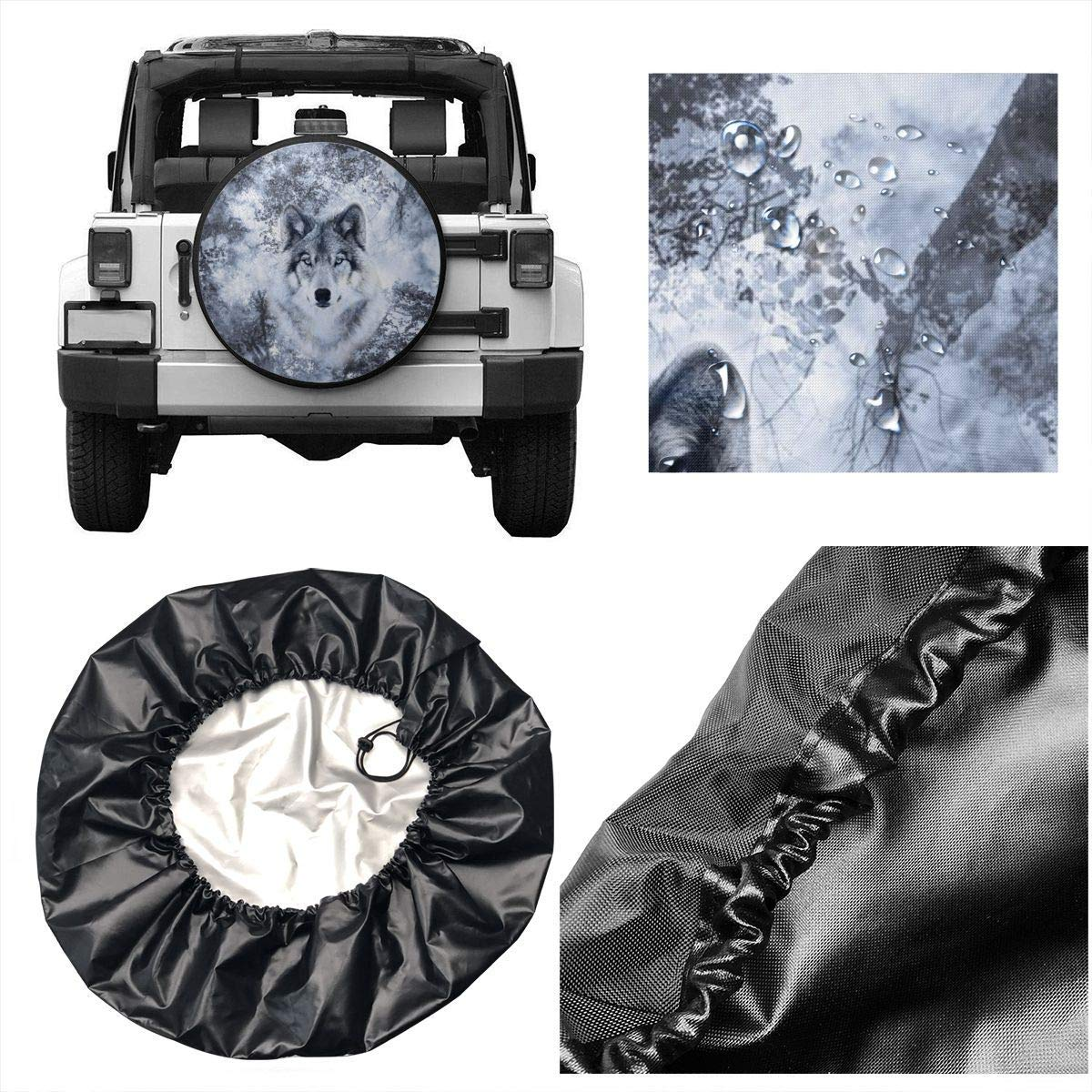 best/& Tire Cover Wolf Trees Potable Polyester Universal Spare Wheel Tire Cover Wheel Covers Jeep Trailer RV SUV Truck Camper Travel Trailer Accessories 14 in