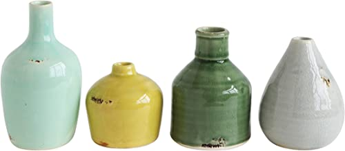 Creative Co-op DA8327-1 Blue, Yellow, Green White Terracotta Vases Set of 4 Colors Shapes