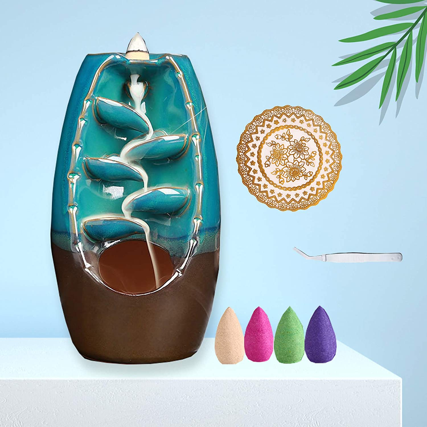 EncountME Ceramic Backflow Incense Holder Waterfall Incense Burner with 80 backflow Incense Cones & Incense Burner mat and Tweezers Waterfall Incense Holder Aromatherapy Ornament Home Decor Indoor