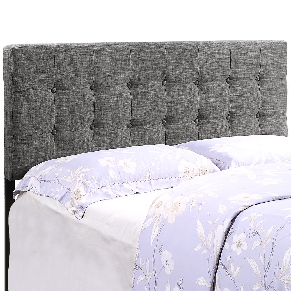 HOME BI Upholstered Tufted Button Linen Fabric Headboard Full/Queen Size(Dark Grey)