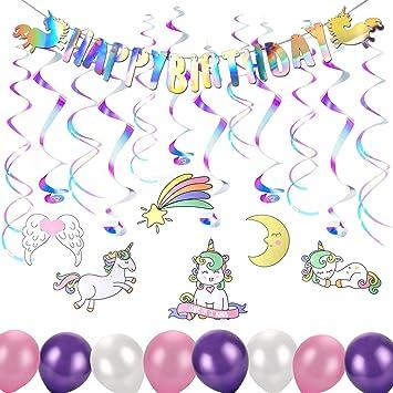 Howaf Unicornio Fiesta de cumpleaños Decoraciones ...